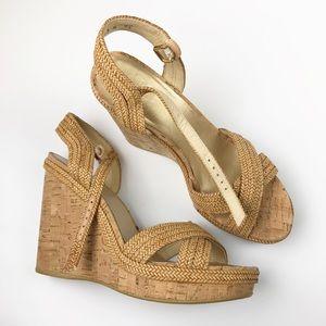Stuart Weitzman Minx Espadrille Cork Wedge Sandals